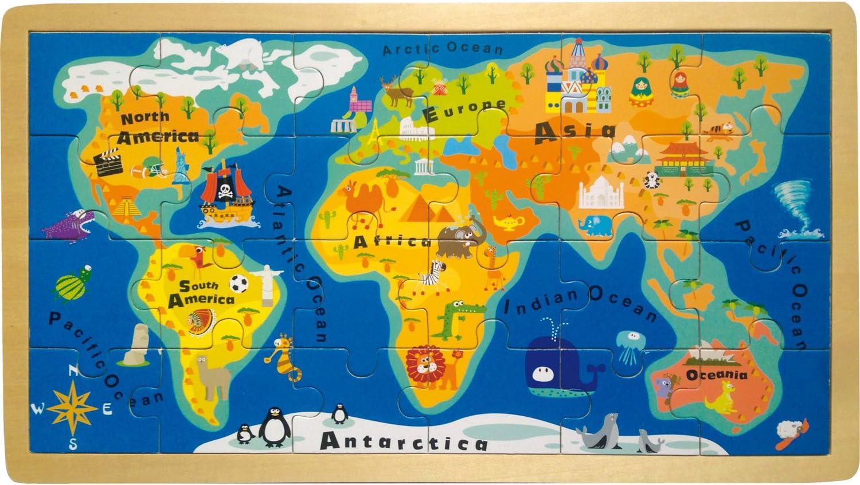 Small Foot- Rompecabezas con Marco del Mapa del Mundo, Color carbón (4240): Amazon.es: Juguetes y juegos