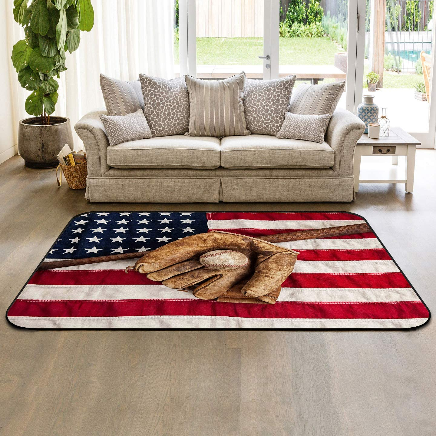 Large Area Rugs 5 x 8 Modern Throw Carpet Floor Cover Nursery Rugs for Children Kids, Vintage Baseball League with USA American Flag Sports Theme, Indoor Outdoor Rugs for Living Room Bedroom