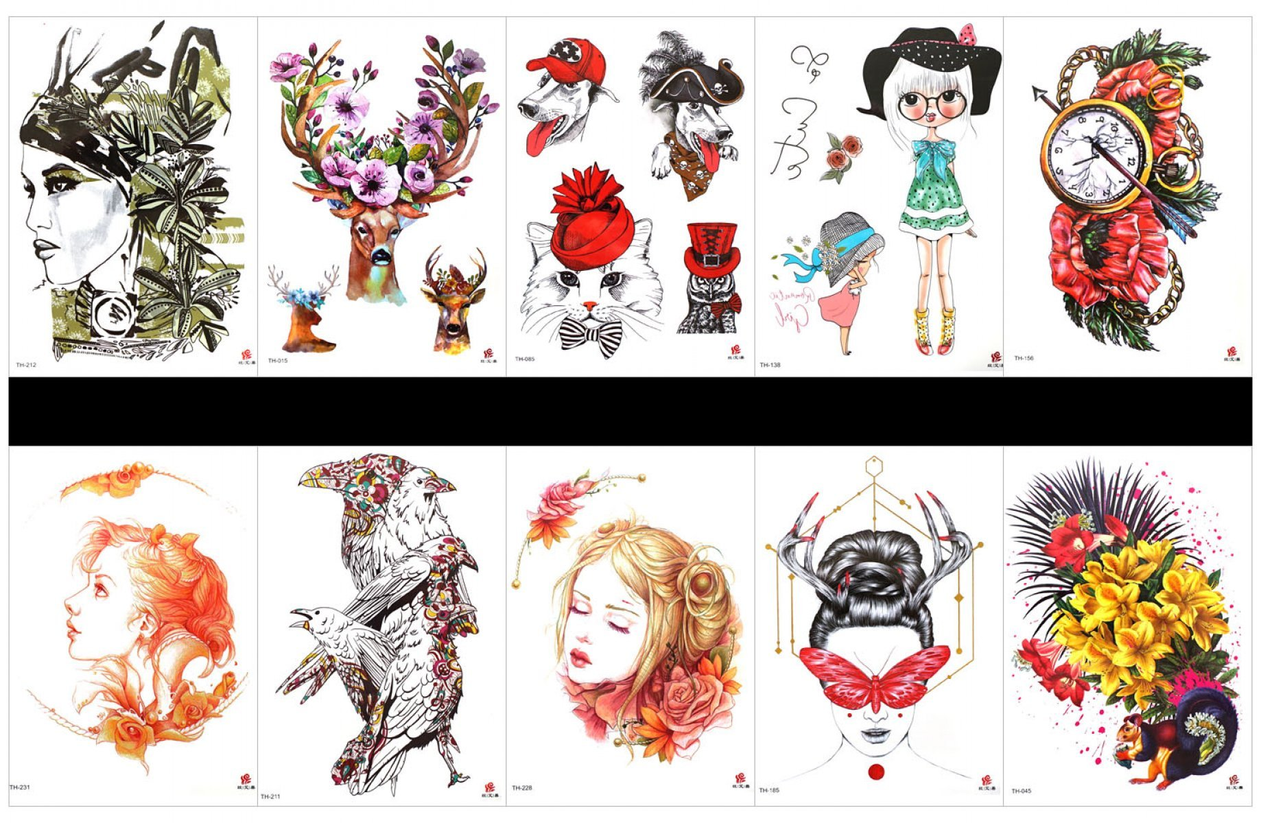 GGSELL GGSELL 10pcs tattoo rose temporary tattoos in one packages,including lady,deer with flowers,cute dog and cat,beautiful girls,clock with flowers,owl,squirrel with flowers,etc.