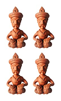 KHUBLAL MURTI KALA KENDRA Terracotta Musical Man Figurine (12 cm x 6 cm x 4 cm, Brown, Pack of 4, KMKKG12)