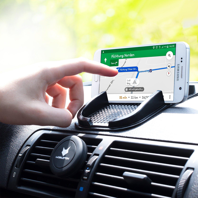 Rutschfestes Auto Halter Pad Ladekabel Handy Halterung Adapter SET f/ür Apple iPhone 7//Plus//6//S//5 mobilefox/® KFZ Anti-Rutsch Matte integr