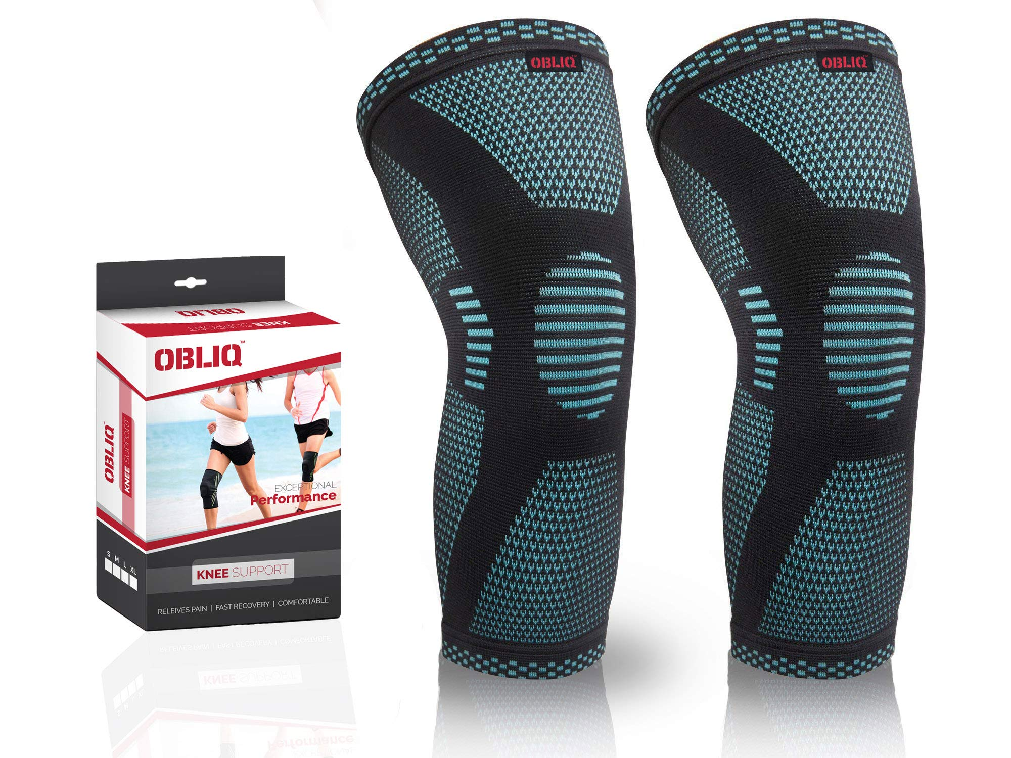 OBLIQ Sport Knee Cap Support Compression Sleeve for Running, Tennis, Football, Pain Relief (1 Pair) (Blue, Large(16.5-18 Inches)) product image