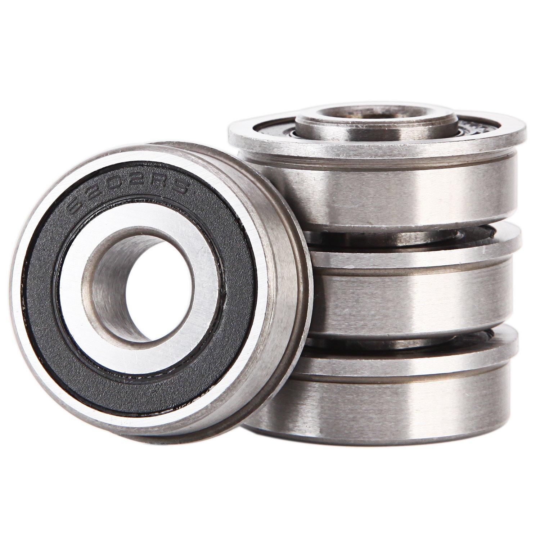 1/2' Bearing (Pack - 4), ID 1/2' x OD 1-1/8' - Lawn Mower, Wheelbarrows, Carts & Hand Trucks Wheel Bearing, Replace Marathon, MTD - Flanged Precision Ball Bearing. ID 1/2 x OD 1-1/8 - Lawn Mower XiKe
