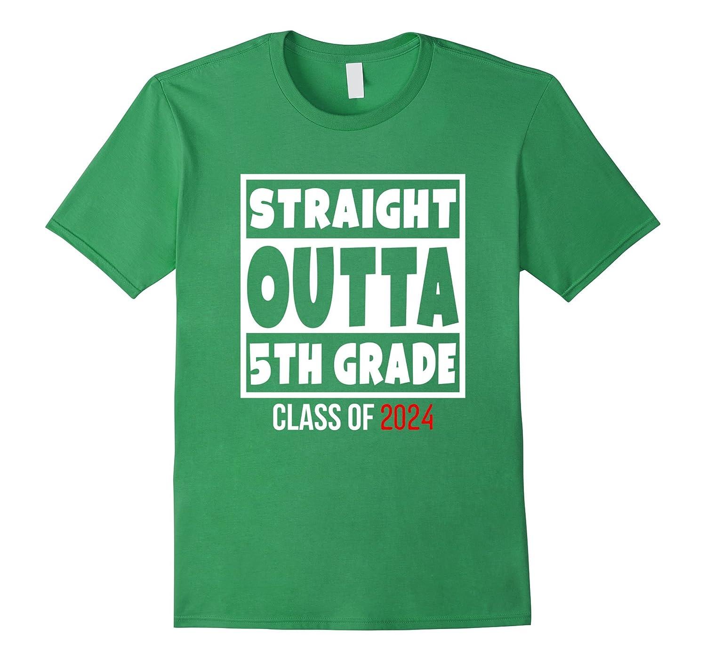 Straight Outta 5th Grade Funny 2024 Graduation T-Shirt-RT