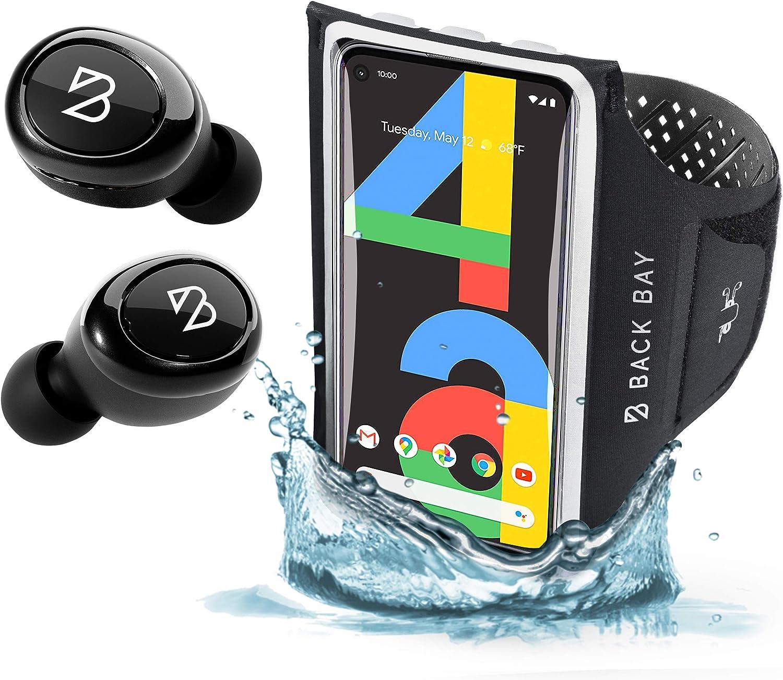 Back Bay Duet 50 Slim APTX Wireless Bluetooth Earbuds and No-Slip Running Armband. Long Battery Life Headphones. Armband fits Pixel 5, Pixel 4a, 4, Pixel 2, iPhone 12 Mini, SE, iPhone 8