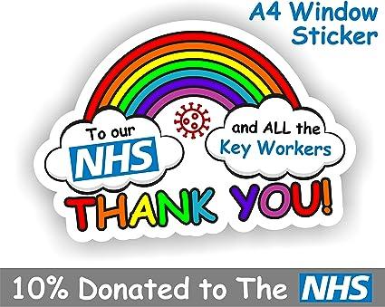 Thank You NHS /& Key Workers Vinyl Stickers Decals Nurse Doctor Rainbow-N401