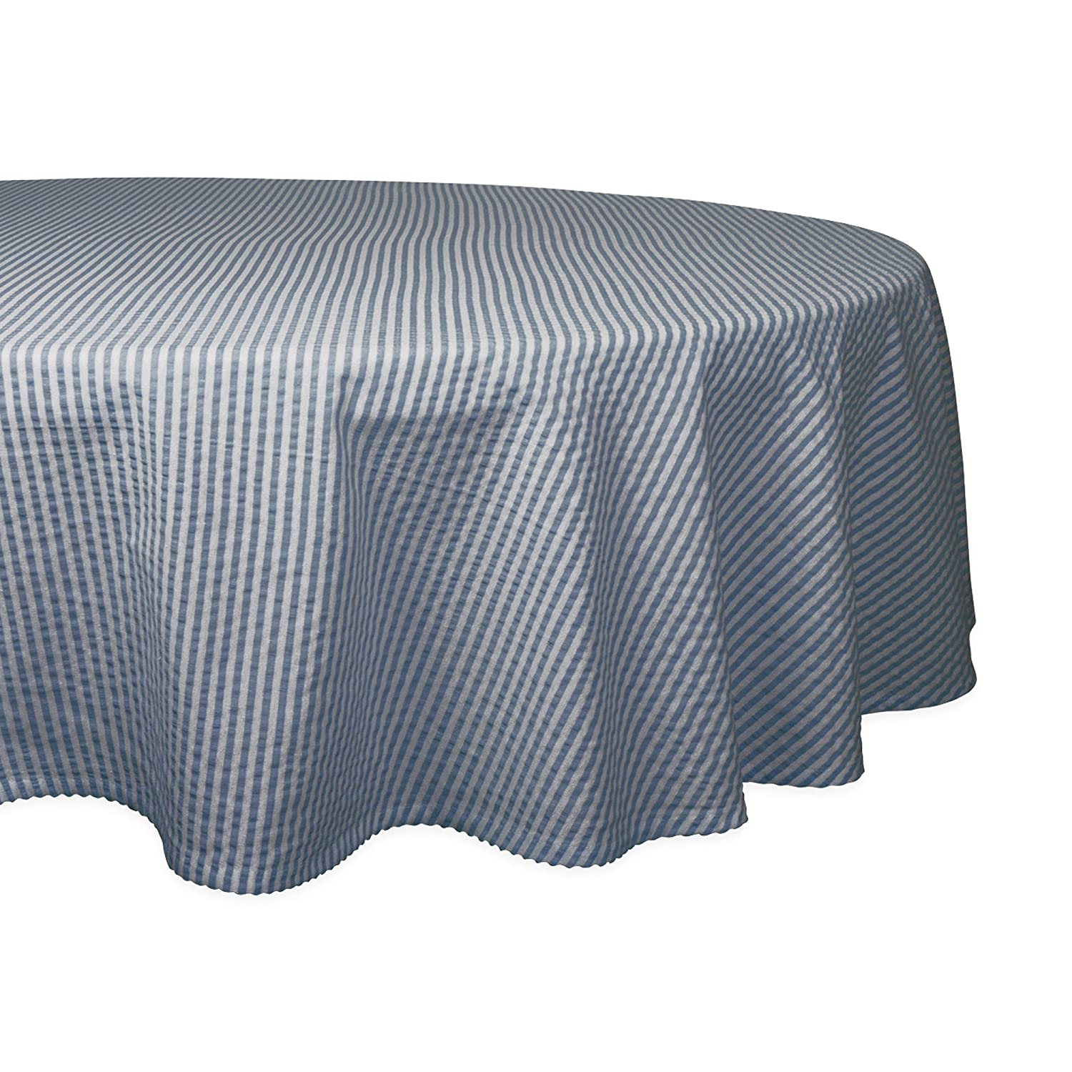 """DII Otton Seersucker Striped Tablecloth for Weddings, Picnics, Summer Parties and Everyday Use, 70"""" Round, French Blue and White"""