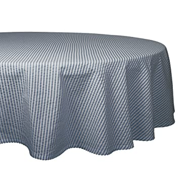 DII Otton Seersucker Striped Tablecloth for Weddings, Picnics, Summer Parties and Everyday Use, 70  Round, French Blue and White