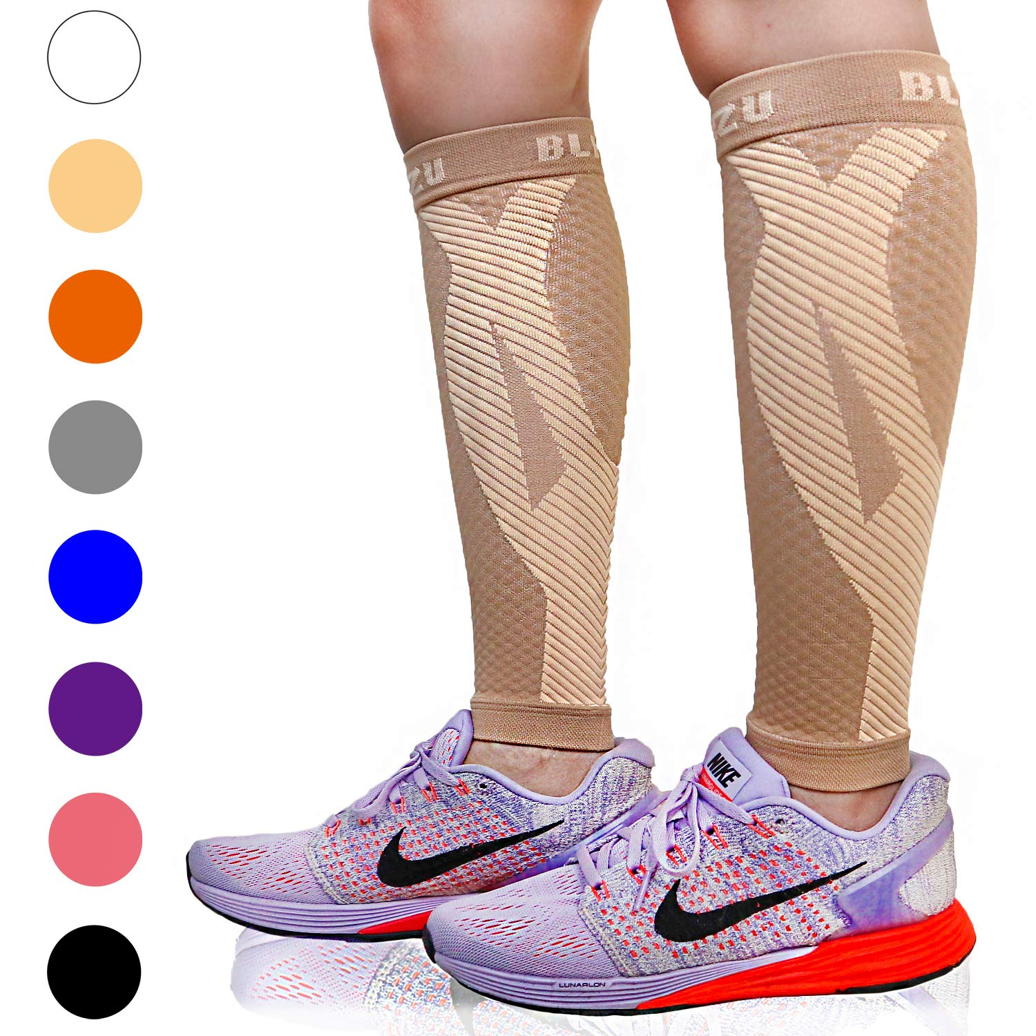 BLITZU Calf Compression Sleeve Leg Performance Support for Shin Splint & Calf Pain Relief. Men Women Runners Guards Sleeves for Running. Improves Circulation and Recovery (Nude, Small/Medium)