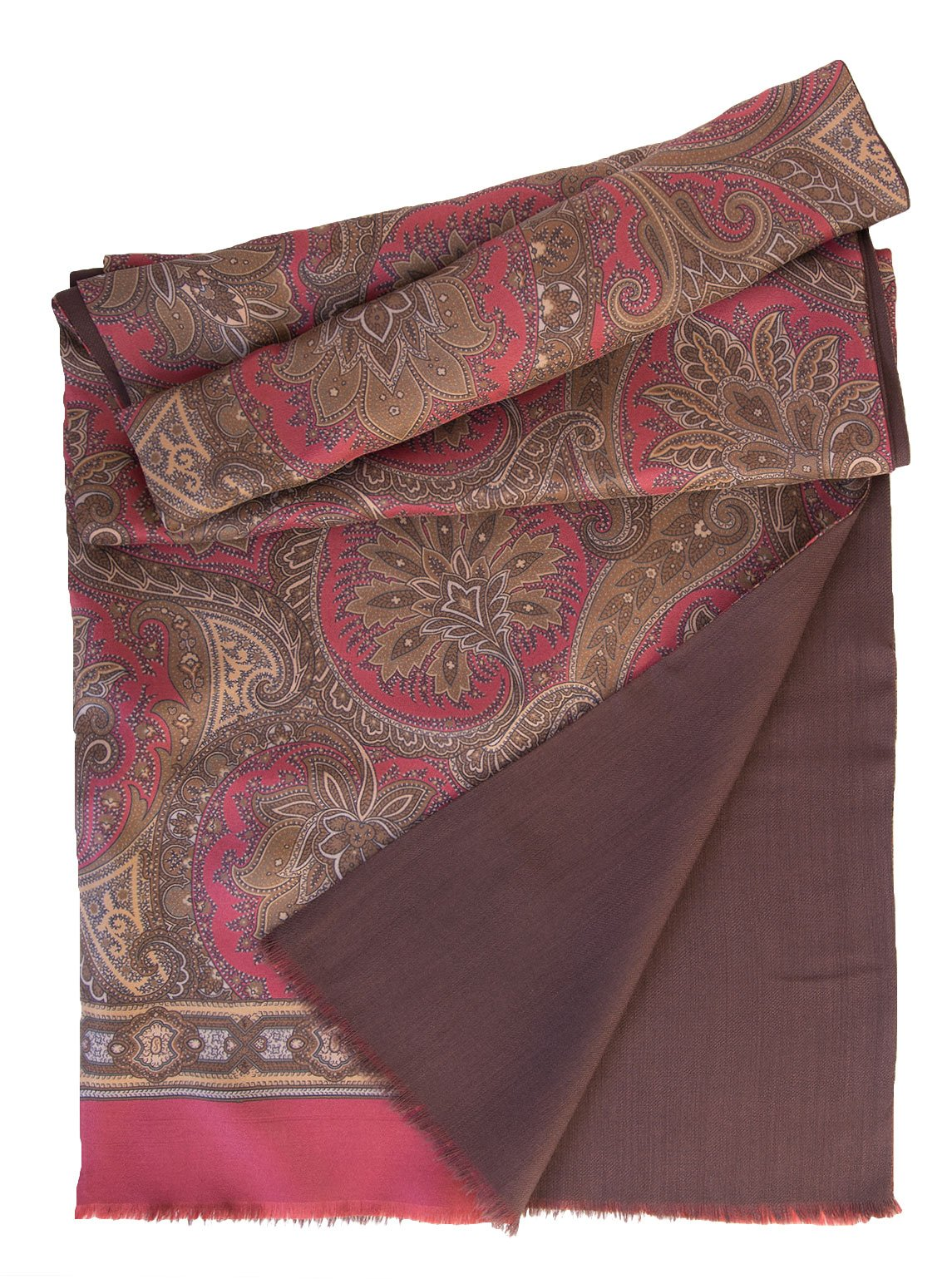 Elizabetta Men's Italian Silk Scarf - Paisley Print - Soft Wool Lined-Burgundy & Brown