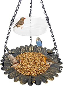 Bird Feeder Hanging Tray,Seed Tray Bird Bath Tray 2 Trays for Bird Feeders Attracting Pet Hummingbird Feeder for Outdoor Garden Backyard Decorative Copper (1 Pack)