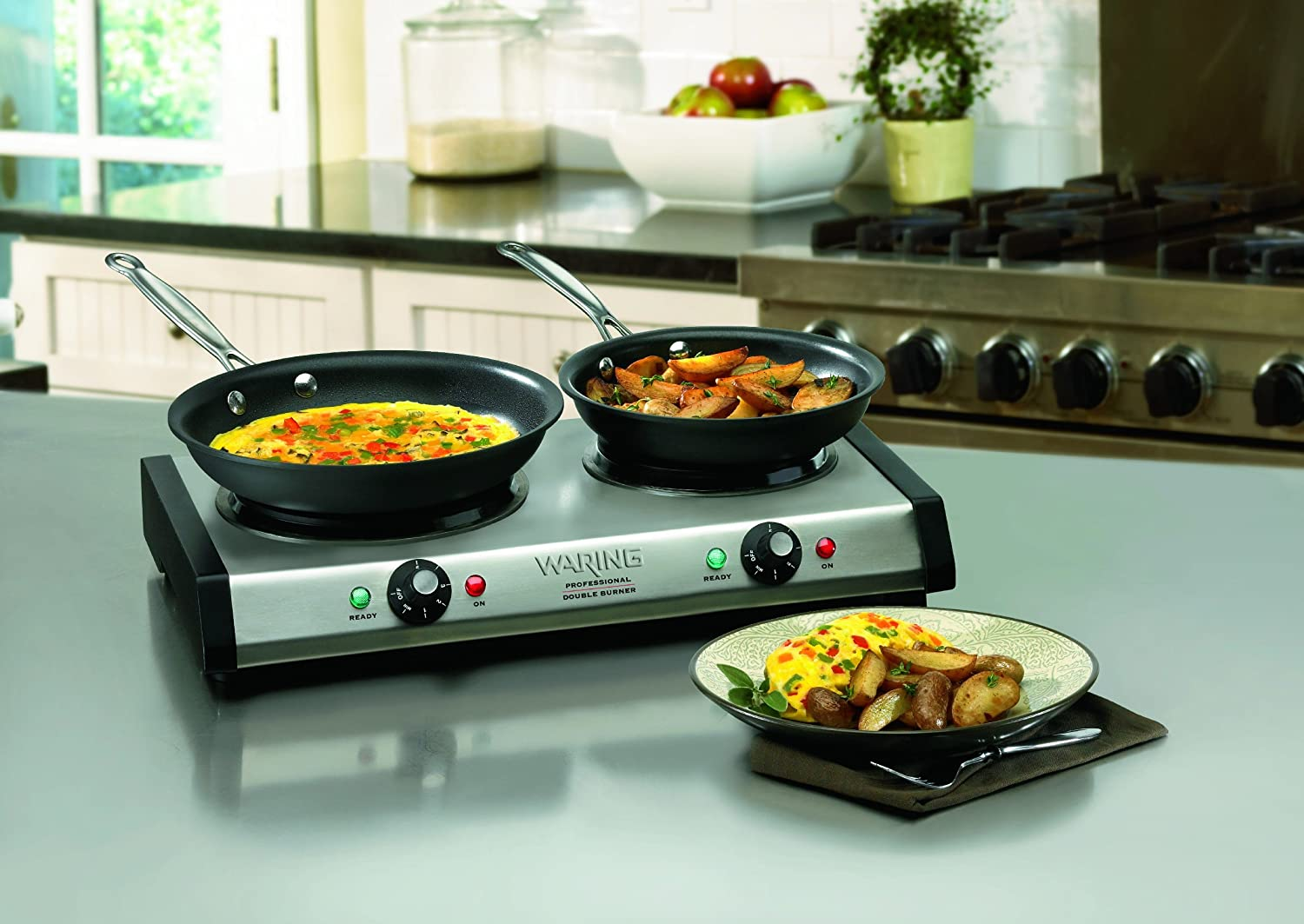 Amazon.com: Waring DB60 Portable Double Burner: Electric Countertop Burners:  Kitchen U0026 Dining