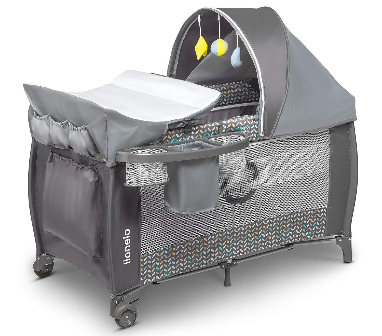 Reisebett Lionelo Sven Plus Grey Scandi Wiege Babybett Kinderbett mit Wickelablage