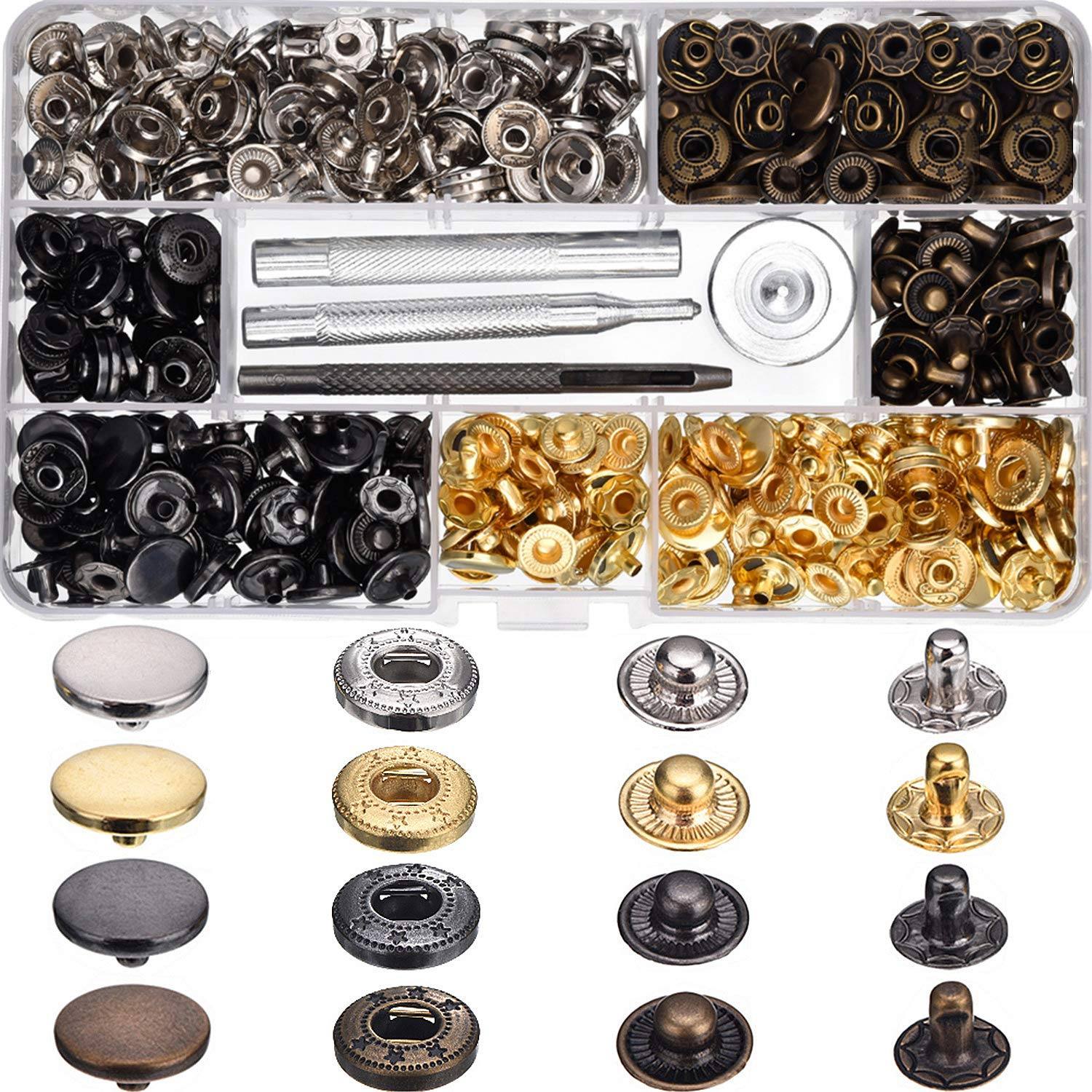 Hotop 100 Set Snap Fasteners Leather Snaps Button Kit Press Studs with 4 Pieces Fixing Tools, 12.5 mm in Diameter 4337005996