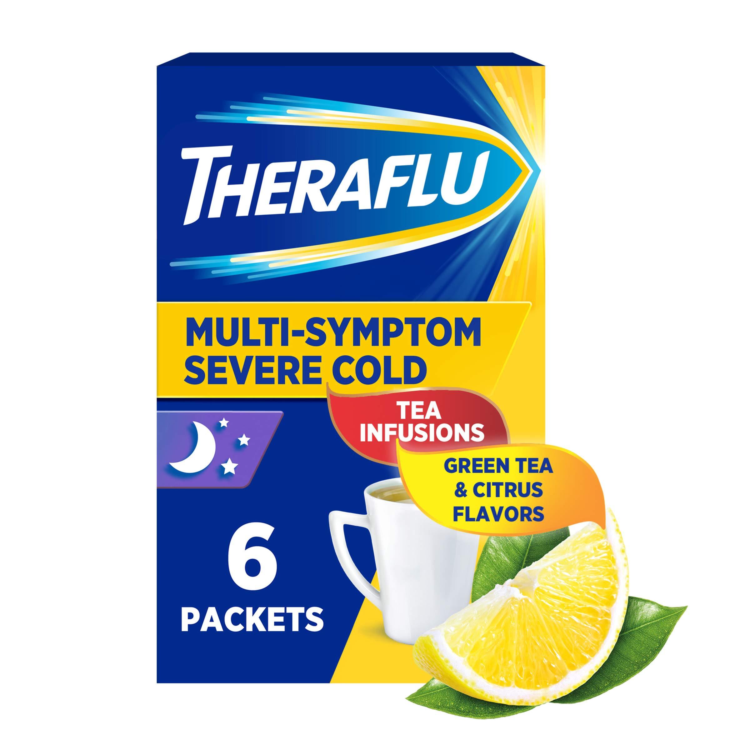 Theraflu Nighttime Multi-Symptom Severe Cold Hot Liquid Powder Green Tea and Citrus Flavors Box, 6 Count