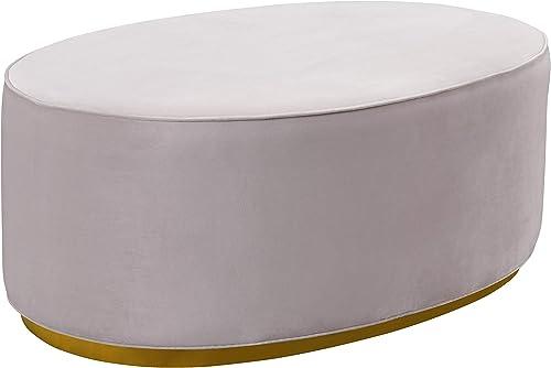 TOV Furniture The Scarlett Collection Modern Velvet Upholstered Oval Ottoman