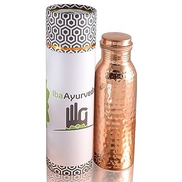 Iba Ayurveda - 100% de cobre botella de agua - 750 ml - 25oz - acabado martillado: Amazon.es: Hogar