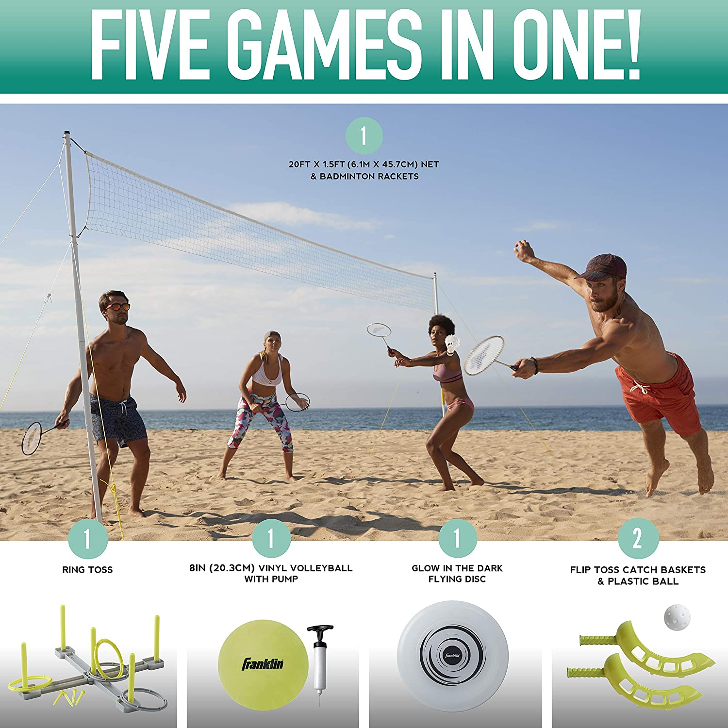 Franklin Sports Fun 5 Combo Set - Badminton, Volleyball with Pump, Ring Toss, Flip Toss, and Flying Disc : Sports & Outdoors