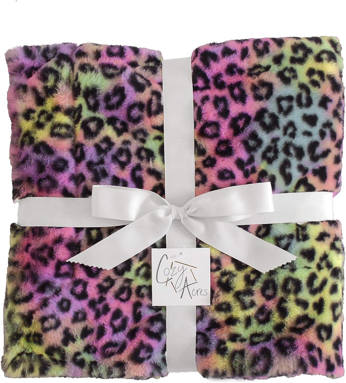 Cozy Acres service 42x60 Rainbow half Blanket Medium Leopard
