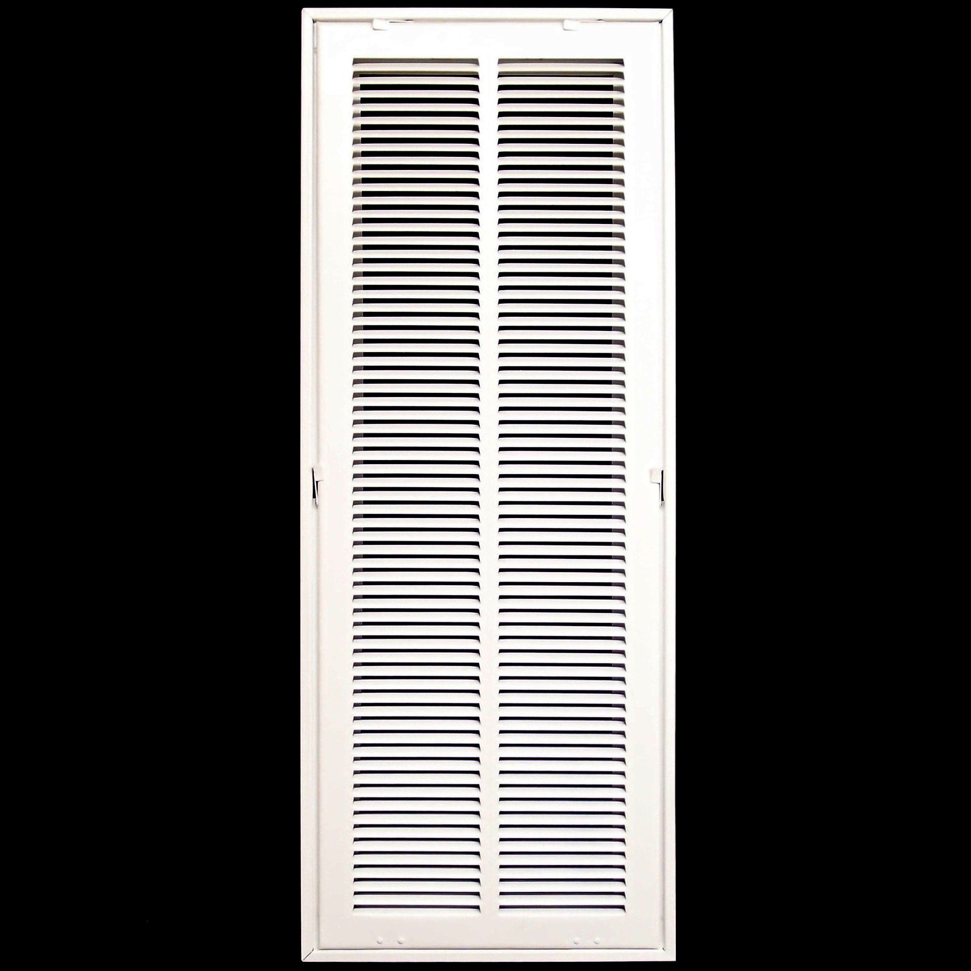 10'' X 30 Steel Return Air Filter Grille for 1'' Filter - Removable Face/Door - HVAC DUCT COVER - Flat Stamped Face - White [Outer Dimensions: 12.5''w X 32.5''h]