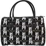 Signare Womens Fashion Canvas Tapestry Travel Weekend Overnight Bag in Westie Design