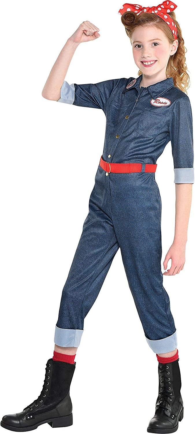 Party City Rosie the Riveter Halloween Costume for Girls Includes Jumpsuit with Belt and Headscarf