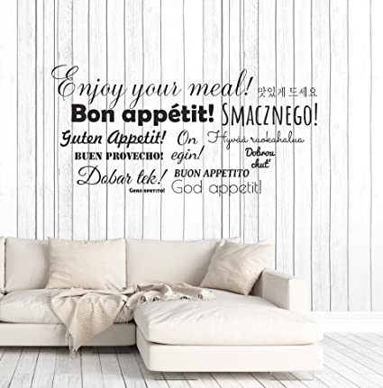 Image Unavailable Not Available For Color Large Vinyl Wall Decal Bon Appetit Words Restaurant Kitchen Dining Room