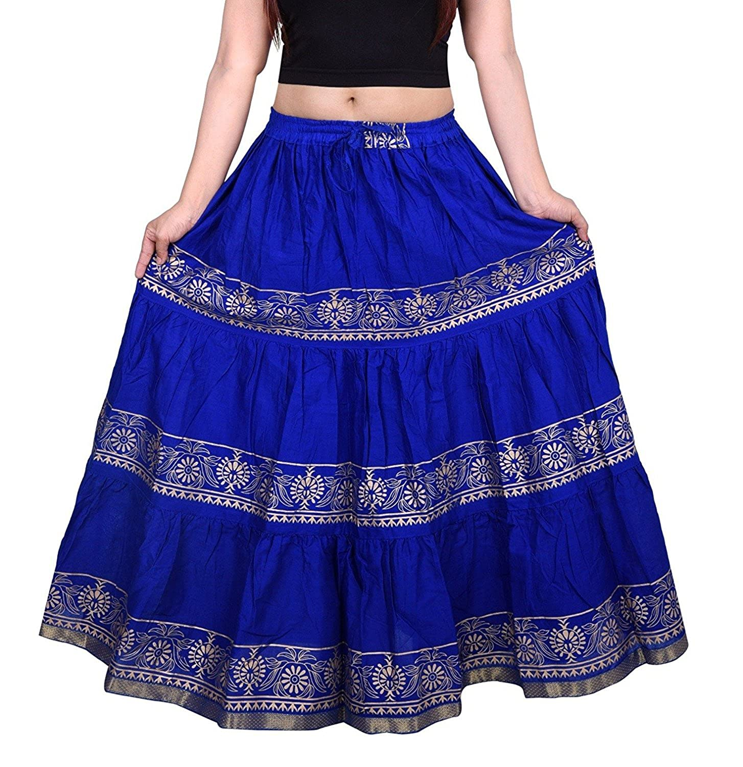 The Jaipur Bazar Women's Cotton Printed Long Skirt (TJBSKRT-553, Blue, Free Size)