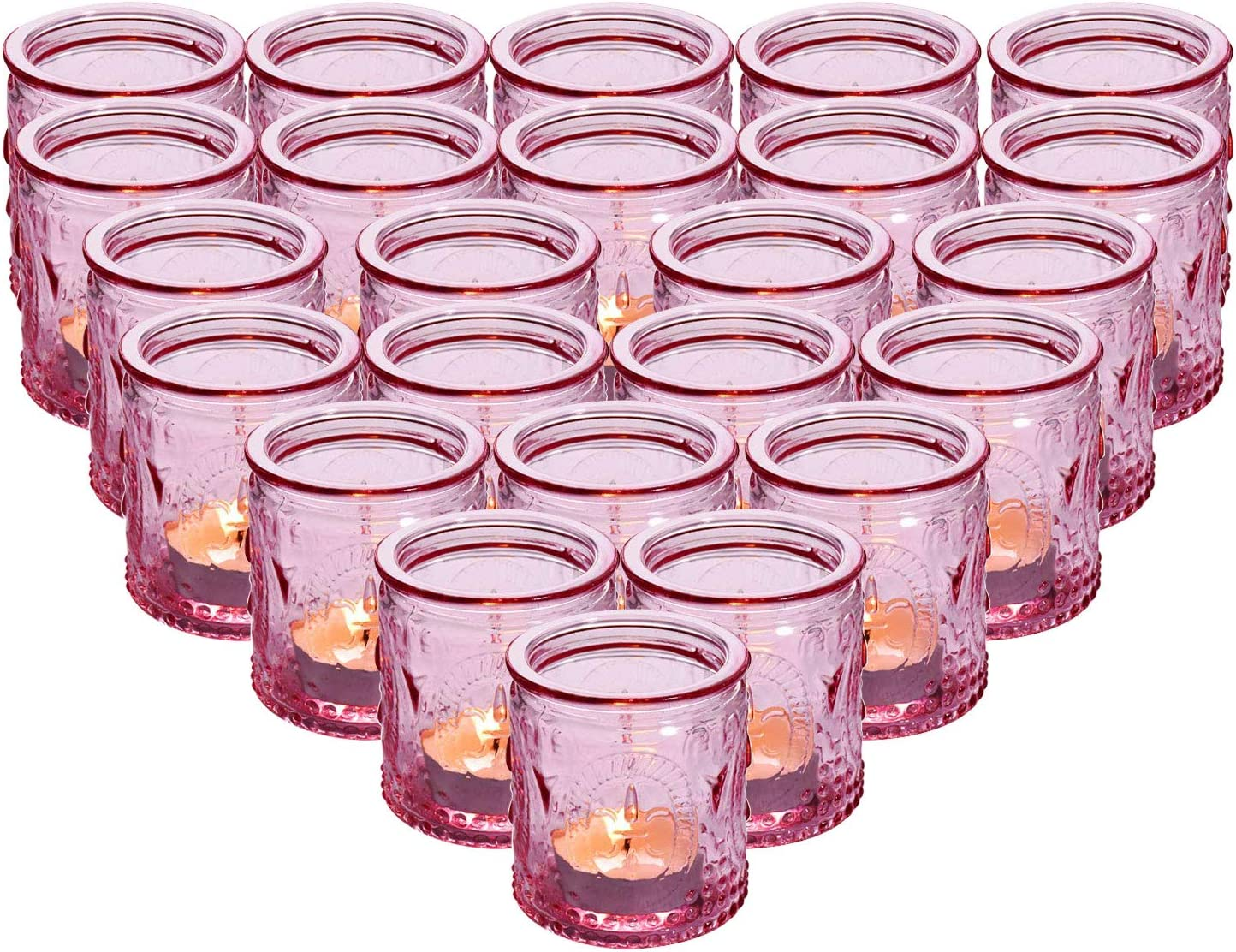 "MICROSUN 24-Pack Glass Vintage Candle Holders Votive Candle Wax Cups Tealight Holders - Perfect for Table Centerpieces, Wedding Prom,Party, Home Decor, 2.28""D x 2.75""H(Pink)"
