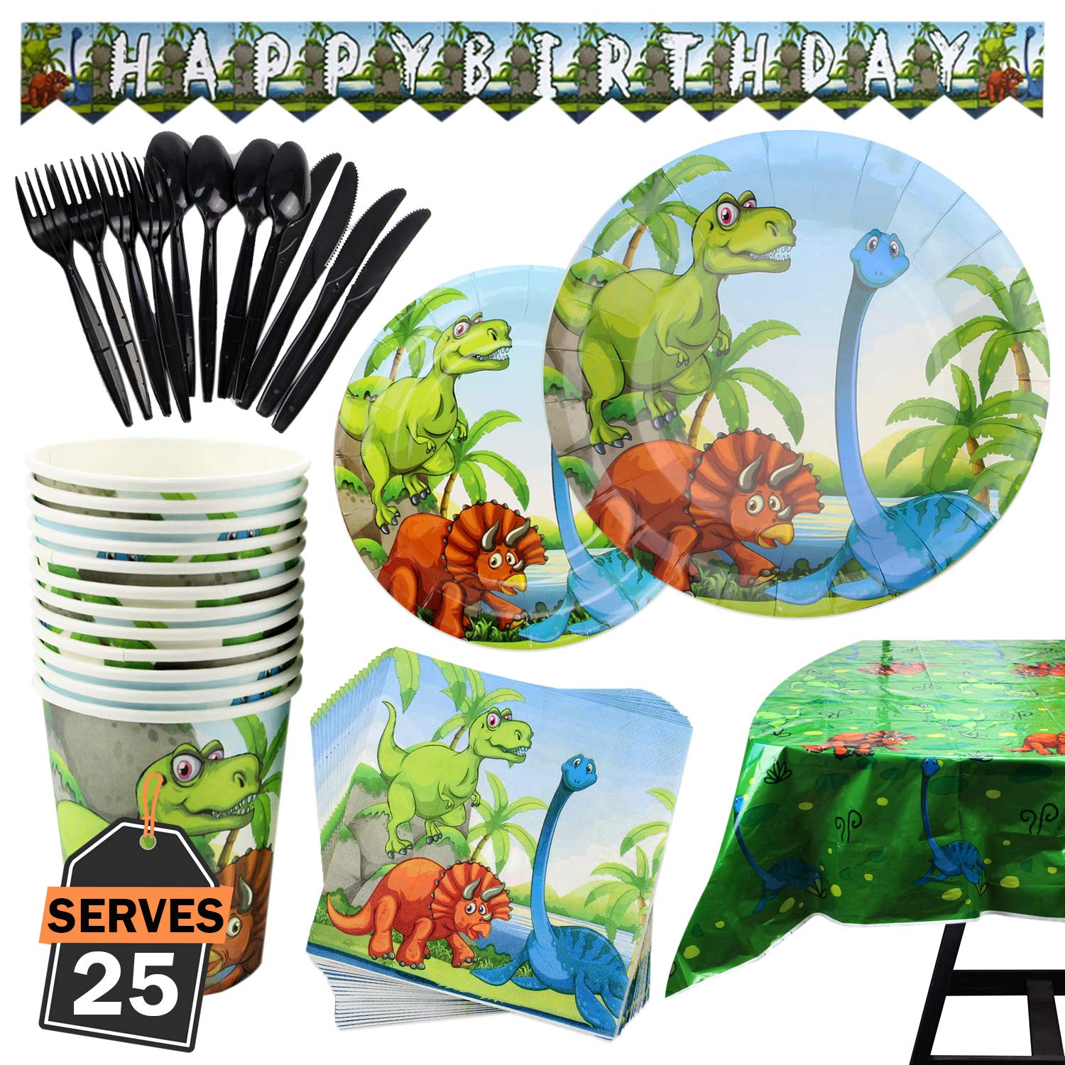 177 Piece Dinosaur Party Supplies Set Including Plates, Cups, Napkins, Spoons, Forks, Knives, Tablecloth and Banner, Serves 25 by Scale Rank