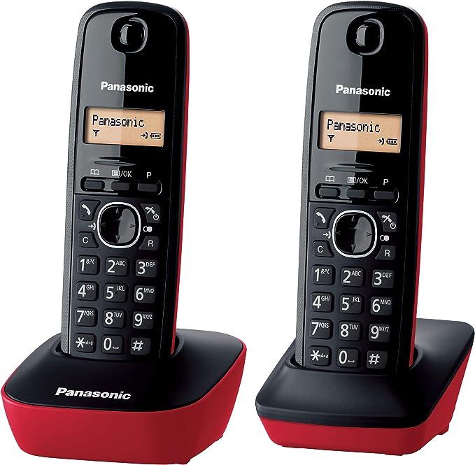 Panasonic KX-TG1612, Teléfono Fijo Inalámbrico Dúo (LCD, Identificador de Llamadas, Intercomunicación, Tecla de Navegación, Alarma, Reloj), DECT, Rojo: Panasonic: Amazon.es: Electrónica