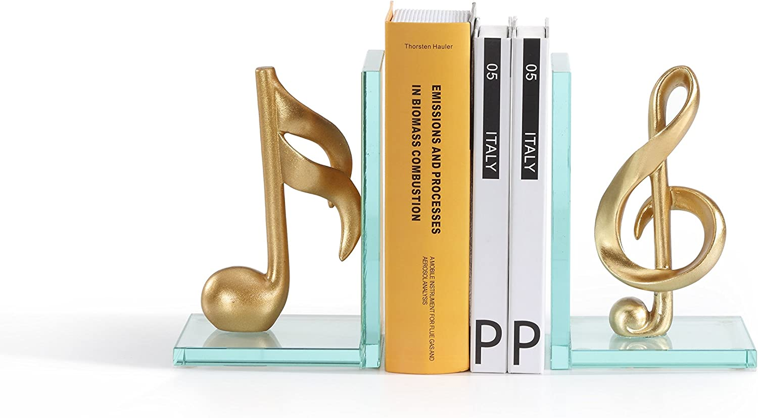 Danya B. DS840 Decorative Gold Musical Notes Glass Bookends for Musicians and Music Lovers
