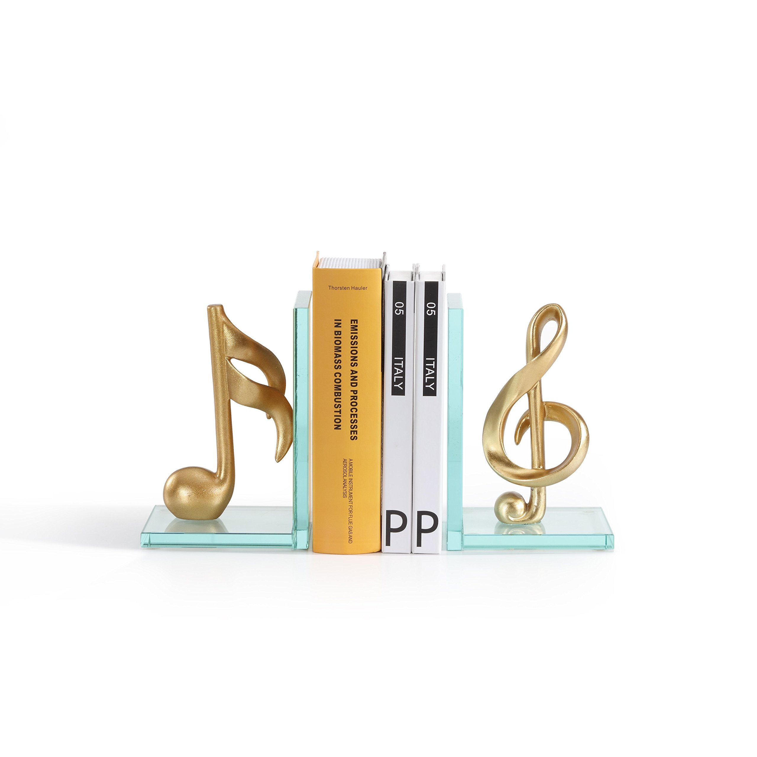 Danya B. DS840 Decorative Gold Musical Notes Glass Bookends for Musicians and Music Lovers by Danya B