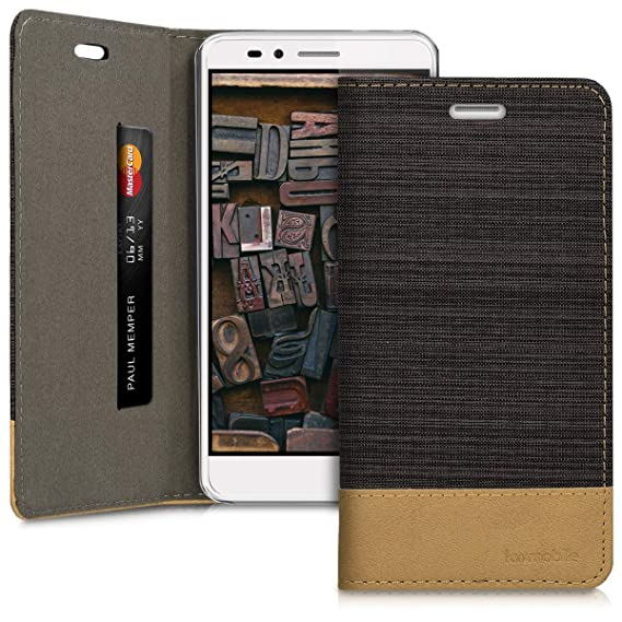 kwmobile Book Style Case for Huawei Honor 5X / GR5 - PU Leather Fabric  Protective Wallet Cover with Stand - Anthracite/Brown