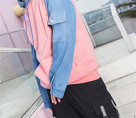 Kateirmaso Hoodie Fleece Pink Blue Patchwork Mens Hip Hop Pullover Sweatshirts Streetwear Spring Hoodie at Amazon Mens Clothing store: