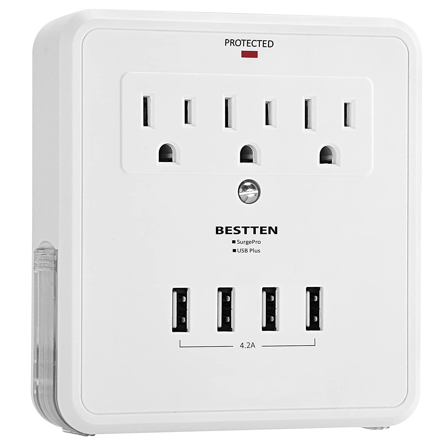 Bestten Multi Outlet Wall Mount Adapter Surge Protector with Four (4) USB Charging Ports, 3 Electrical Outlet Extenders and 2 Slide Out Phone Holders