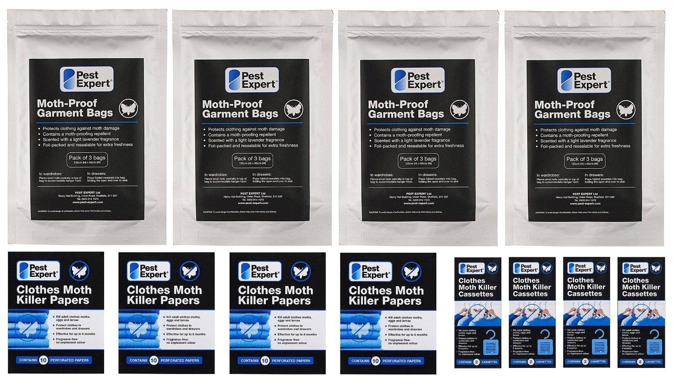 Kit 3 de protection contre les mites de v/êtements dans les garde-robes Produit de qualit/é professionnelle. 4 garde-robe doubles // 8 grand tiroirs de Pest Expert
