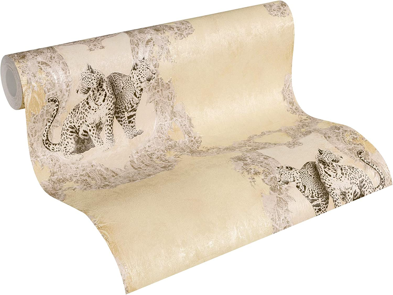 Vliestapete 10,05 m x 0,53 m Elegance Tapete neobarock glamour/ös Klassisch Unitapete f/ür Wohnzimmer Schlafzimmer B/üro metallic Silber