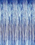 Metallic 3 ft X 8 ft. Blue Foil Fringe Curtains Door Window Curtain Party Decoration- (Blue, 3' X 8'- Pack of 2)