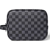 Luxury Checkered Make Up Bag, Travel Cosmetic Wash Bag Unisex Toiletry Bag Vintage PU Vegan Leather Travel Make up Shaving Dopp Kit with Handle (Black)