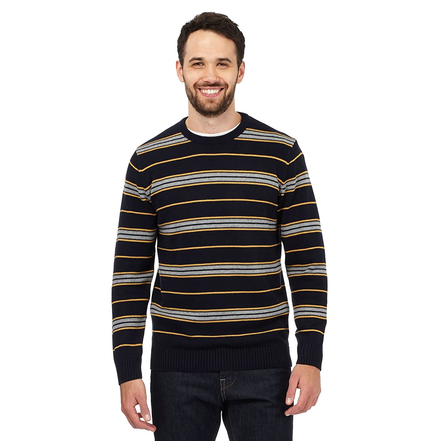 Maine New England Mens Big And Tall Yellow Striped Crew Neck Jumper