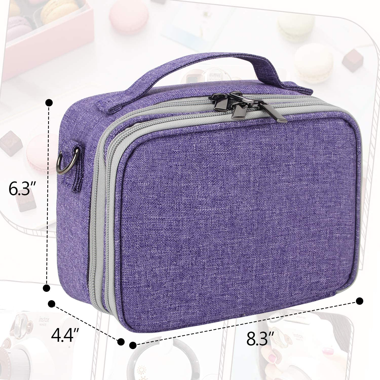Teamoy Camera Case Compatible with Fujifilm Instax Mini 9 Bag Only Purple Travel Carrying Storage Bag for Instant Camera and Accessories