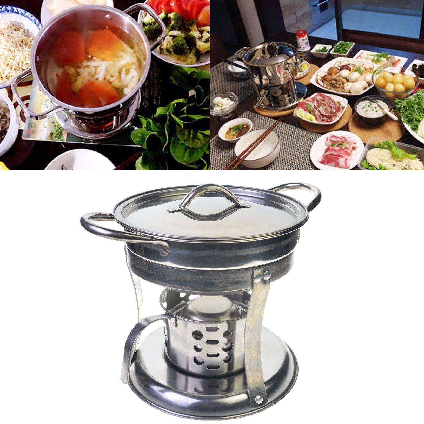 Toyofmine Stainless Steel Thick Cook Cooking Cookware Hot Pot + Lid