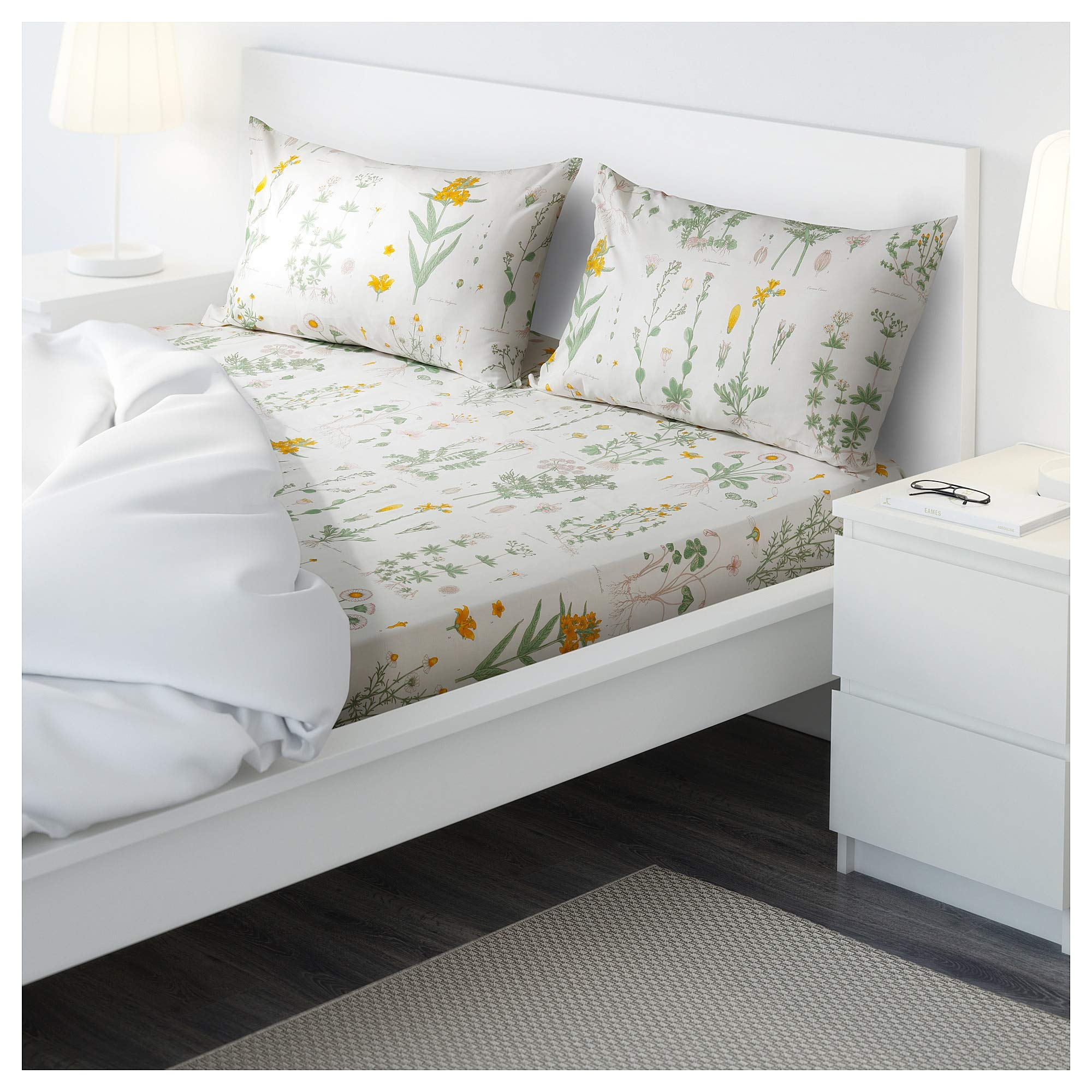 Ikea STRANDKRYPA Flat Sheet and 2 Pillowcase, Floral Patterned, White, 240x260/50x80 cm (94x102/20x32)