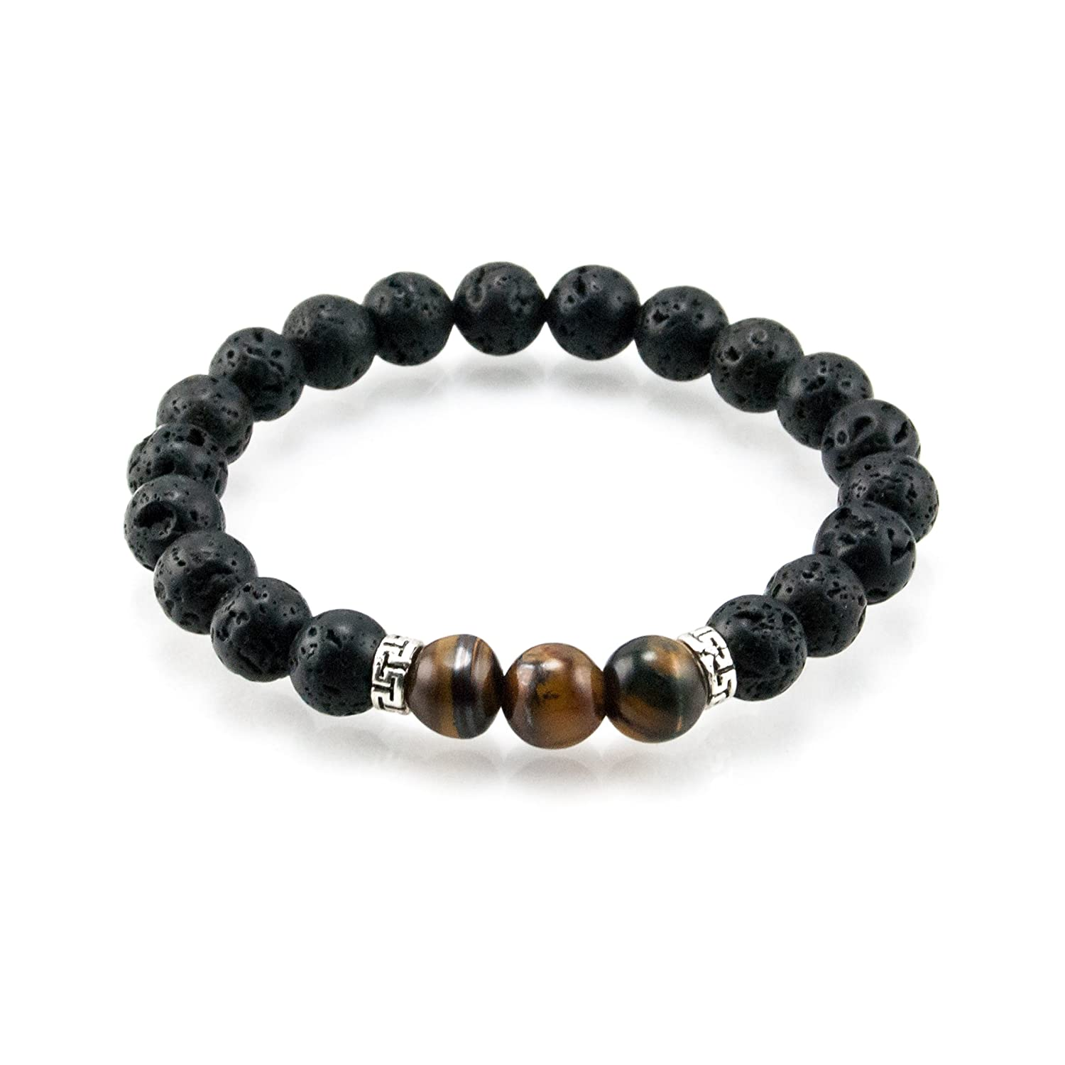 Oil Diffuser Lava Rock Beaded Stretch Bracelet with Tiger's Eye Gemstone Beads