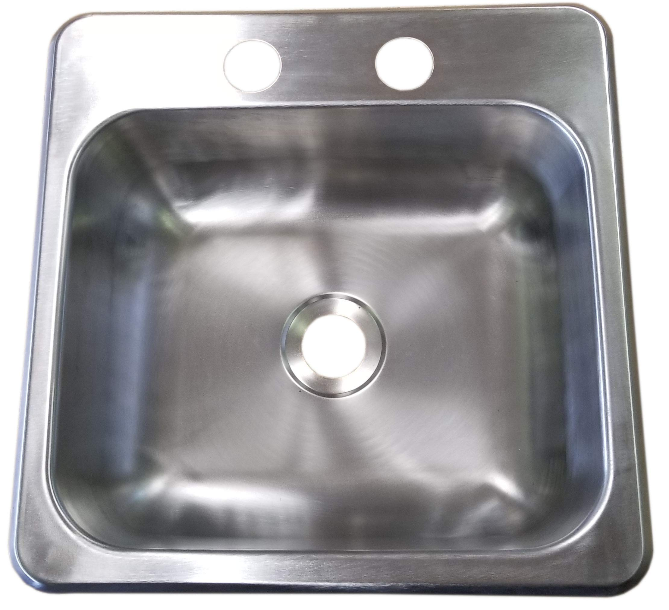 Heng's 15 x 15 x 5 RV Stainless Steel Sink Single Bowl 2 Holes for Faucet