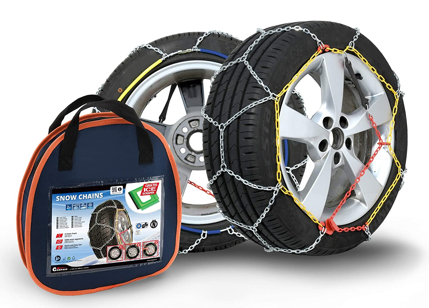 Compass Snow Chains for 225/65 R17  Tyres, TÜ V Approved, 9x17mm (130), 1  Pair TÜV Approved 1 Pair
