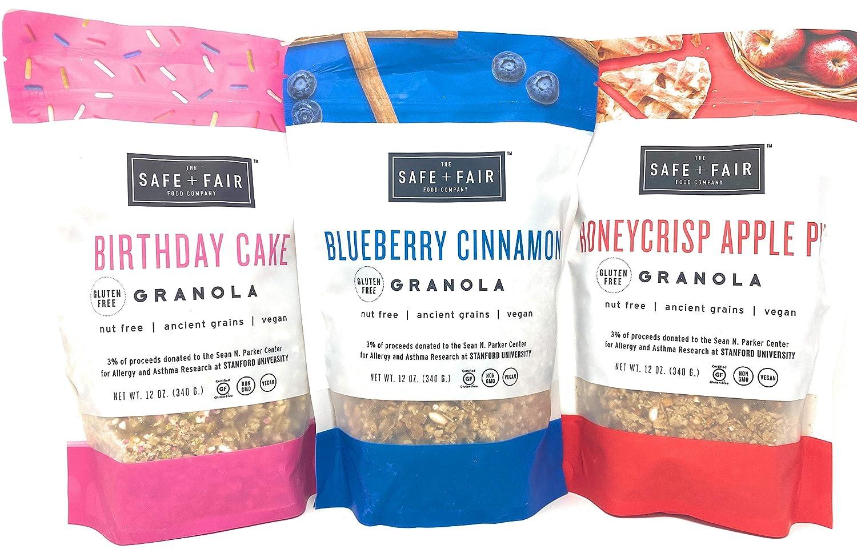 The Safe + Fair Food Company, Birthday Cake Granola Blueberry Cinnamon Granola Honeycrisp Apple Pie Granola Bundle - 12 oz