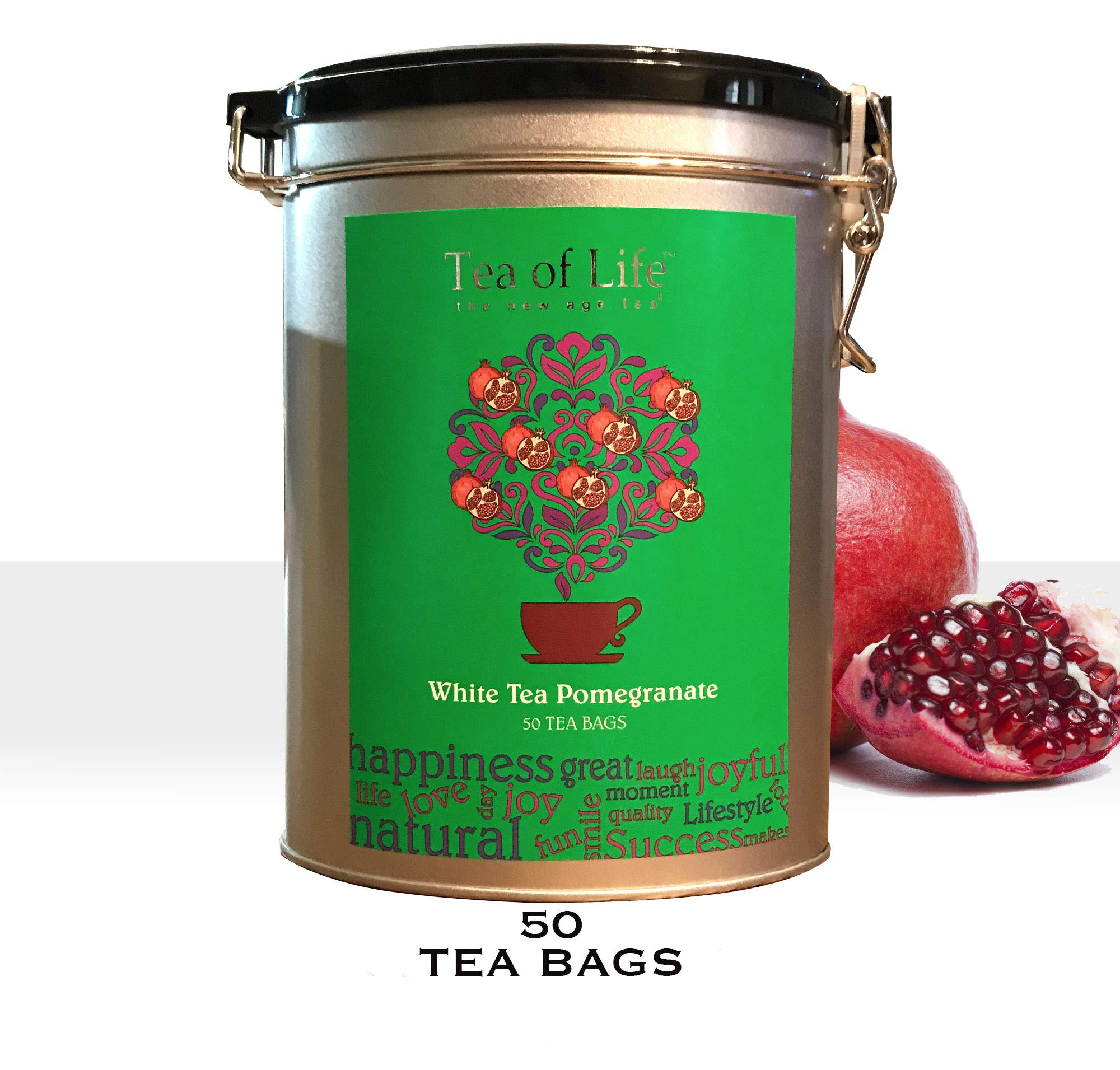 TEA OF LIFE 50 Pure Ceylon White Tea Pomegranate Bags/Oval Metal Clip Tin Gift Ready (White Tea Pomegranate)