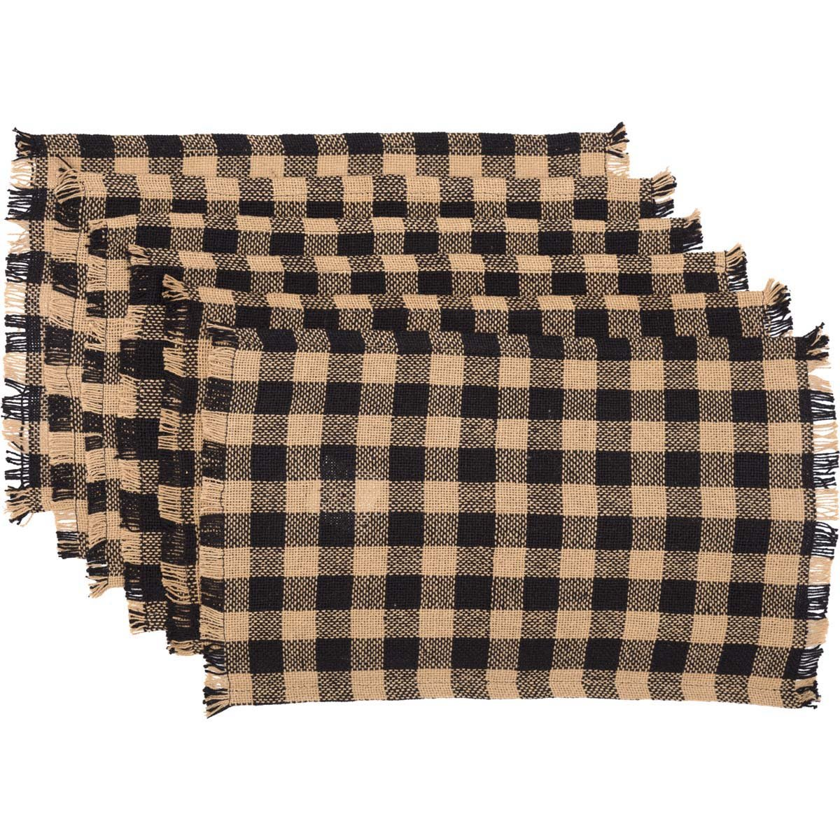 VHC Brands Classic Country Primitive Tabletop & Kitchen-Burlap Check Black  Fringed Placemat Set of 6, 12\